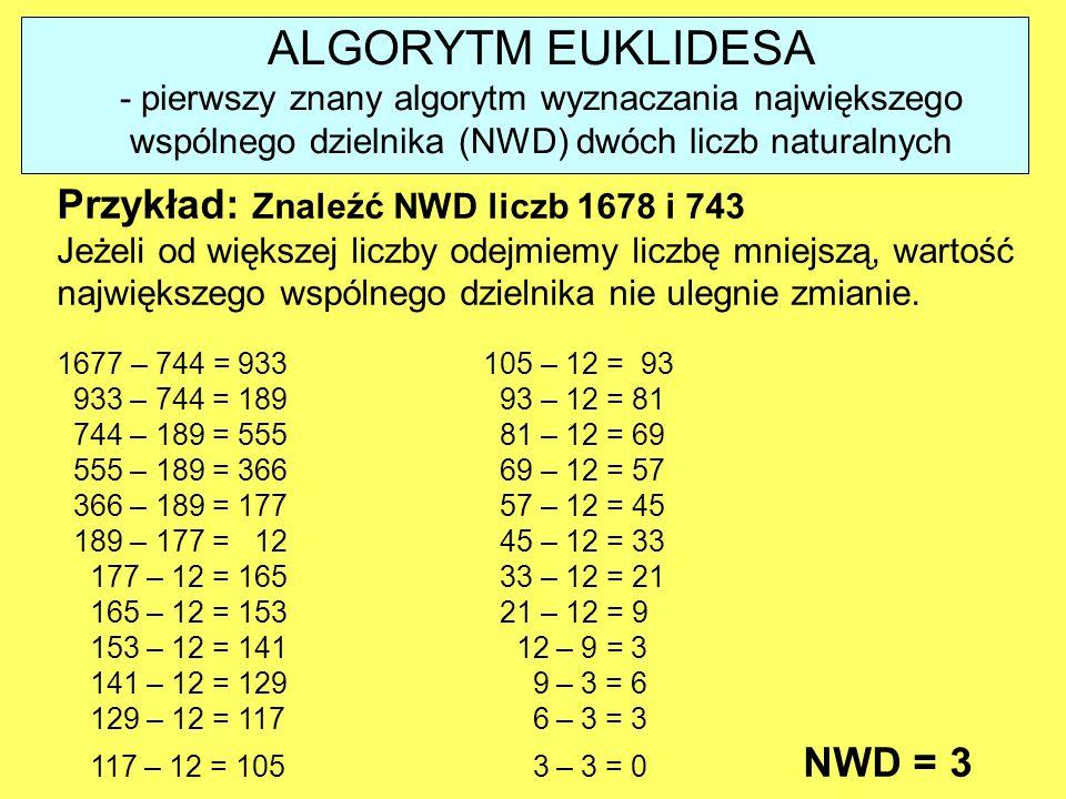 ALGORYTM EUKLIDESA Przykład: Znaleźć NWD liczb 1678 i 743