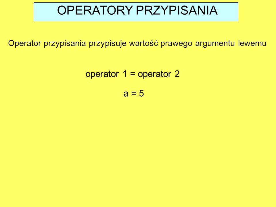 OPERATORY PRZYPISANIA