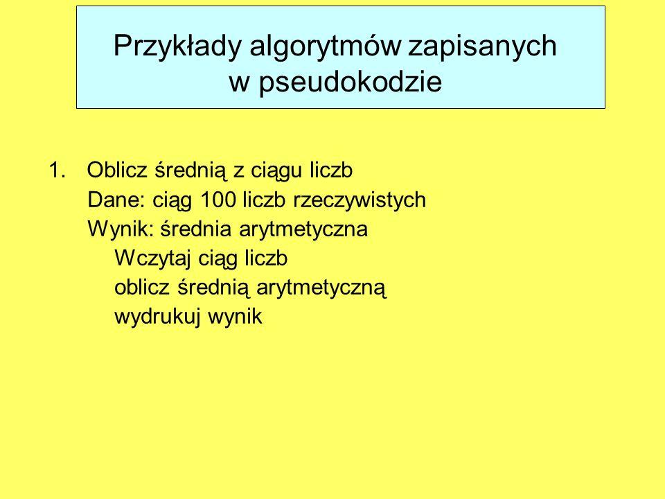 Przykłady algorytmów zapisanych w pseudokodzie
