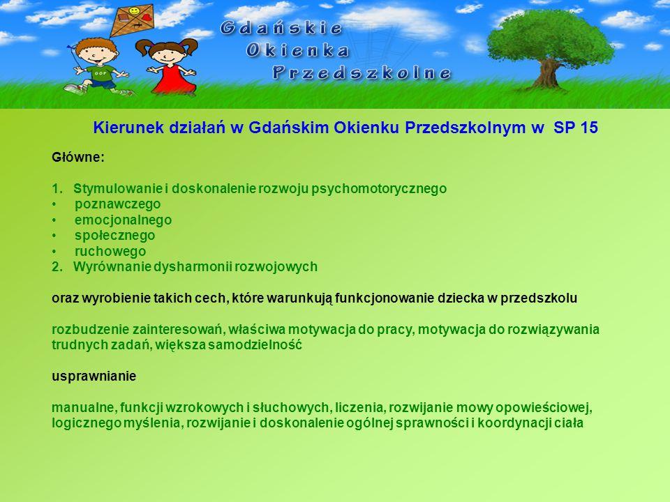 Kierunek działań w Gdańskim Okienku Przedszkolnym w SP 15