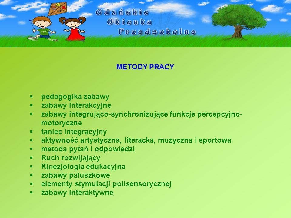 METODY PRACY pedagogika zabawy. zabawy interakcyjne. zabawy integrująco-synchronizujące funkcje percepcyjno-motoryczne.