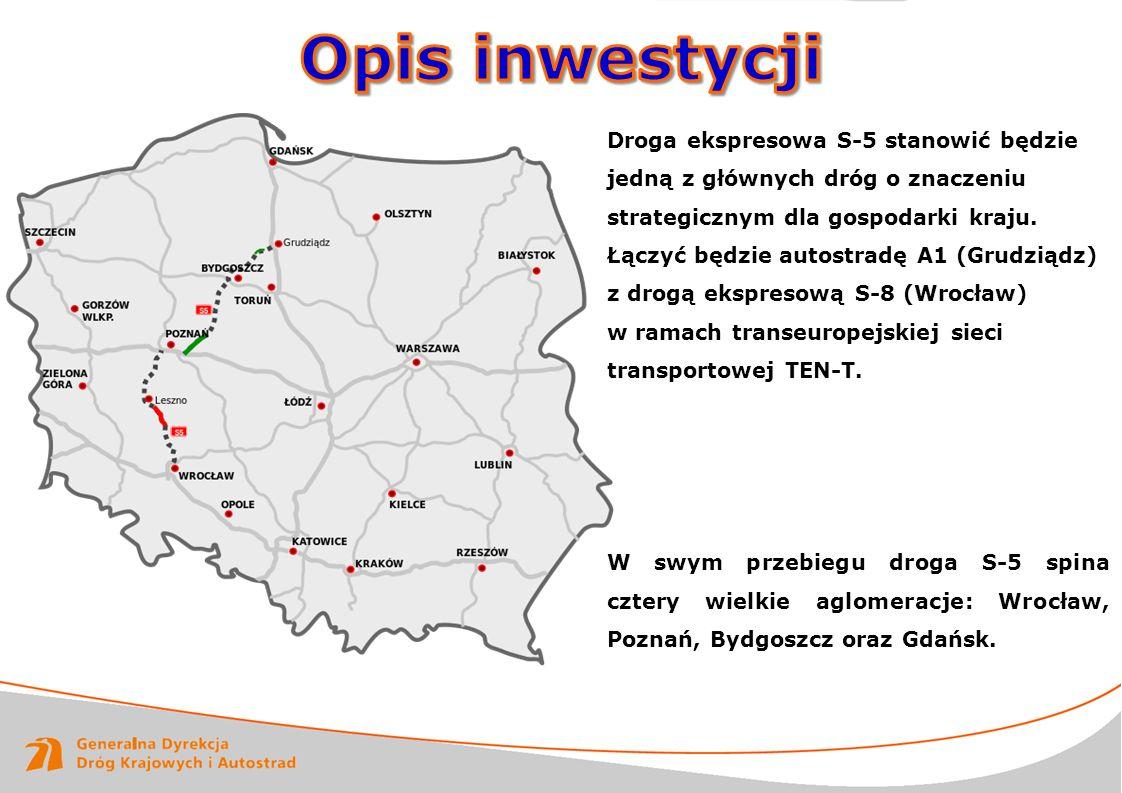 Opis inwestycji Droga ekspresowa S-5 stanowić będzie jedną z głównych dróg o znaczeniu strategicznym dla gospodarki kraju.