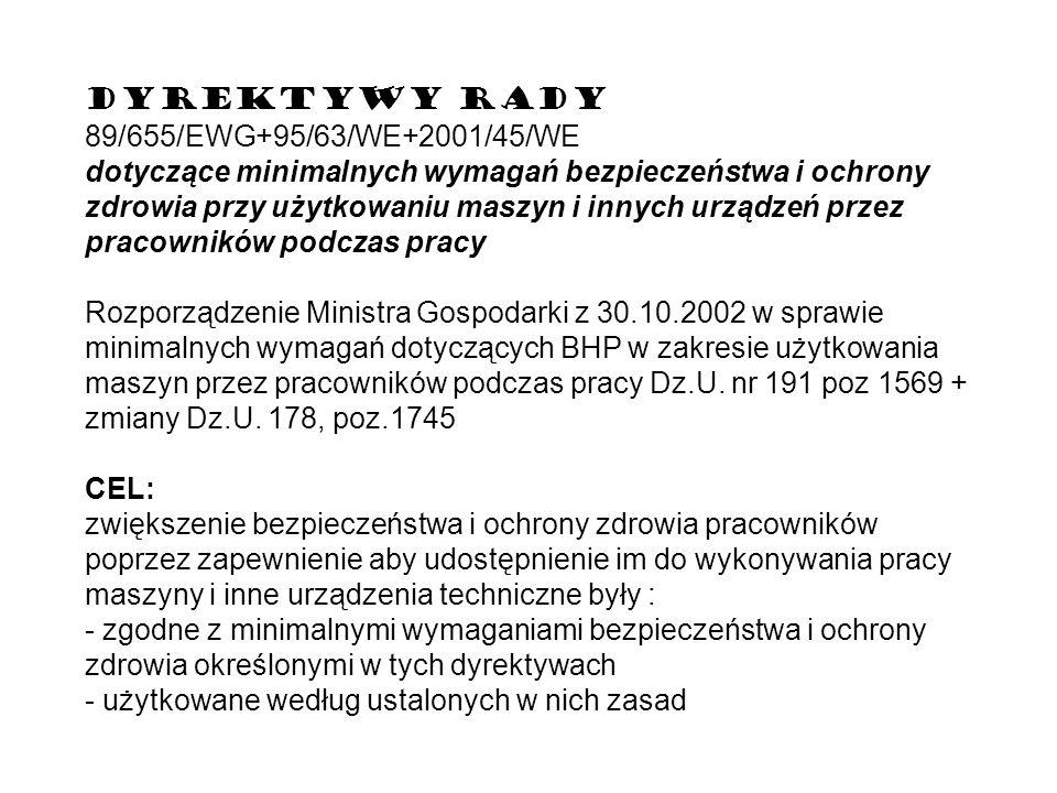 DYREKTYWY RADY89/655/EWG+95/63/WE+2001/45/WE.