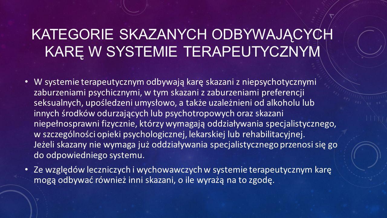 Kategorie skazanych odbywających karę w systemie terapeutycznym