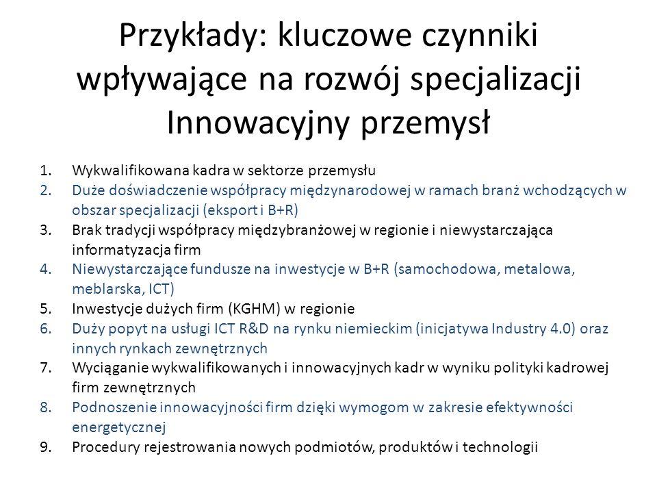 Przykłady: kluczowe czynniki wpływające na rozwój specjalizacji Innowacyjny przemysł