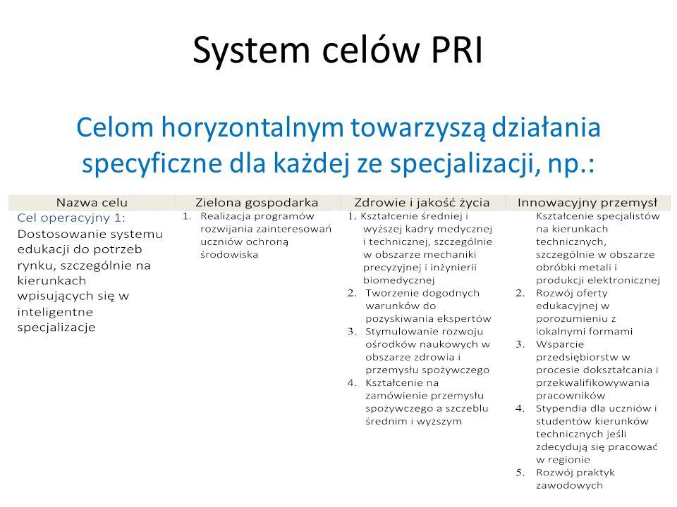 System celów PRI Celom horyzontalnym towarzyszą działania specyficzne dla każdej ze specjalizacji, np.: