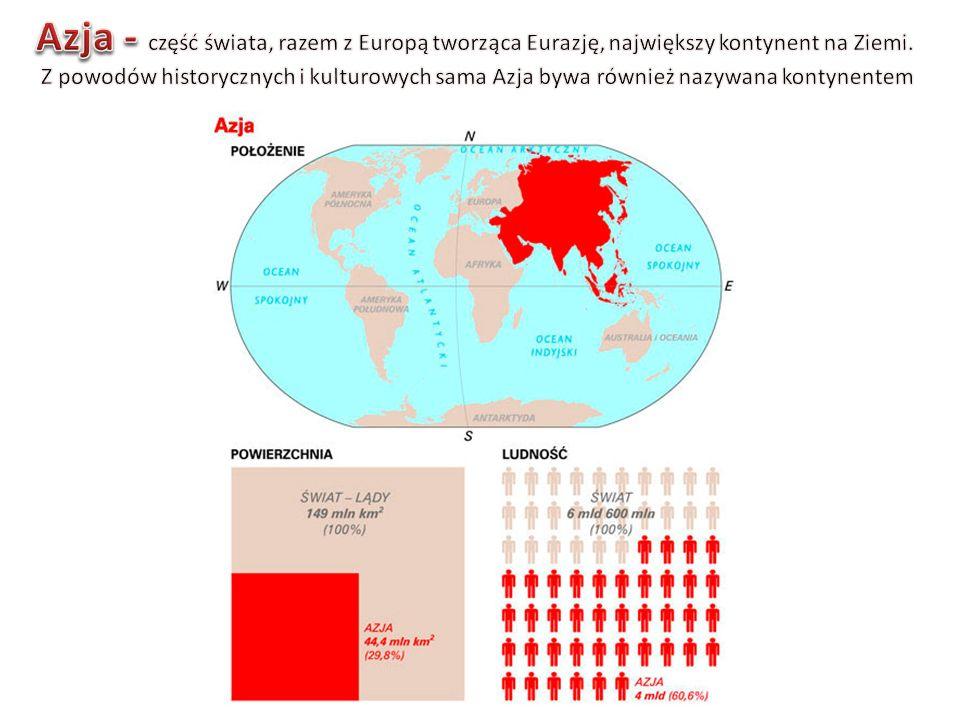 Azja - część świata, razem z Europą tworząca Eurazję, największy kontynent na Ziemi.
