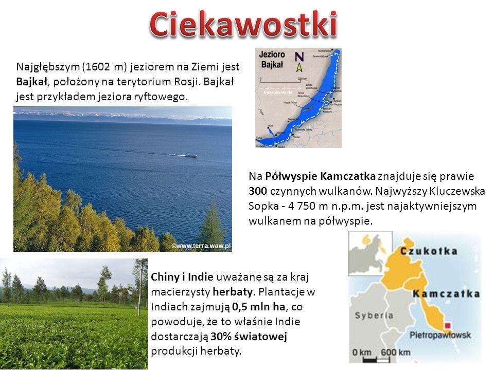 Ciekawostki Najgłębszym (1602 m) jeziorem na Ziemi jest Bajkał, położony na terytorium Rosji. Bajkał jest przykładem jeziora ryftowego.