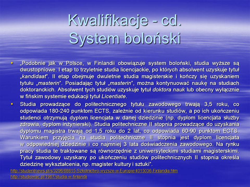 Kwalifikacje - cd. System boloński