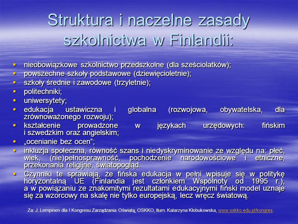 Struktura i naczelne zasady szkolnictwa w Finlandii: