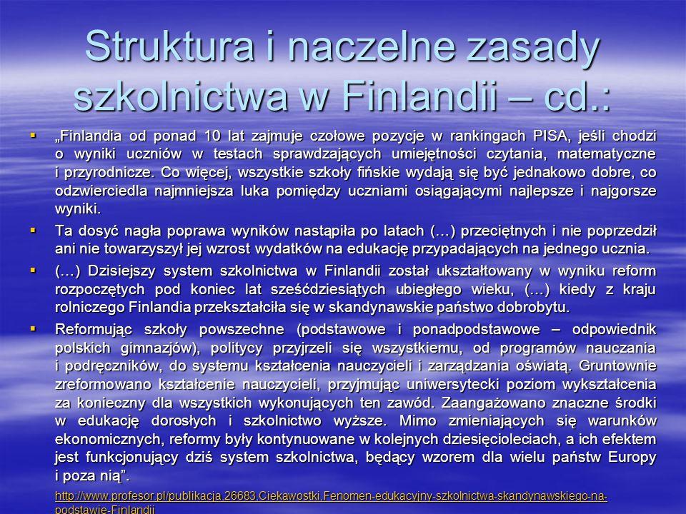 Struktura i naczelne zasady szkolnictwa w Finlandii – cd.: