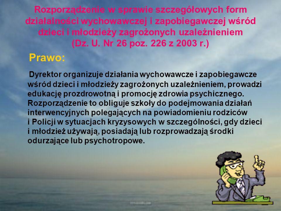Rozporządzenie w sprawie szczegółowych form działalności wychowawczej i zapobiegawczej wśród dzieci i młodzieży zagrożonych uzależnieniem (Dz. U. Nr 26 poz. 226 z 2003 r.)