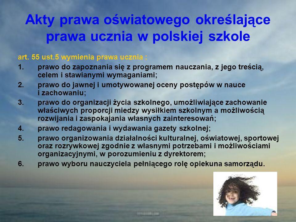 Akty prawa oświatowego określające prawa ucznia w polskiej szkole