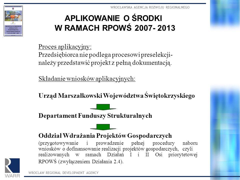 APLIKOWANIE O ŚRODKI W RAMACH RPOWŚ 2007- 2013