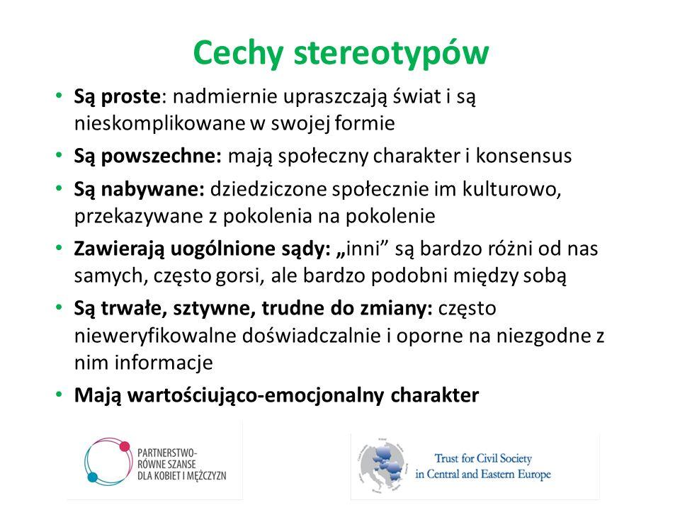 Cechy stereotypów Są proste: nadmiernie upraszczają świat i są nieskomplikowane w swojej formie. Są powszechne: mają społeczny charakter i konsensus.