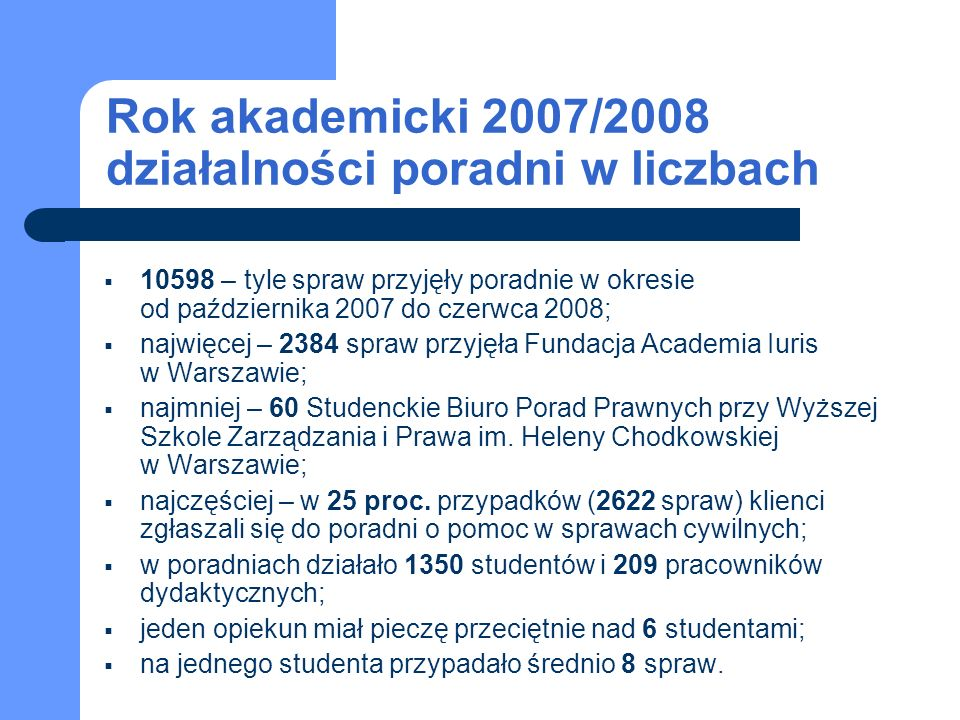 Rok akademicki 2007/2008 działalności poradni w liczbach