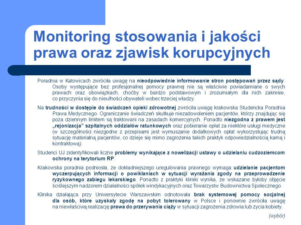 Monitoring stosowania i jakości prawa oraz zjawisk korupcyjnych