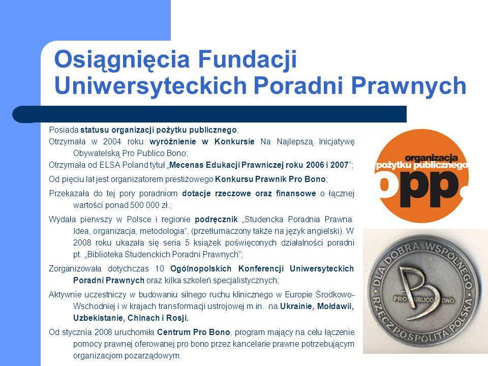 Osiągnięcia Fundacji Uniwersyteckich Poradni Prawnych