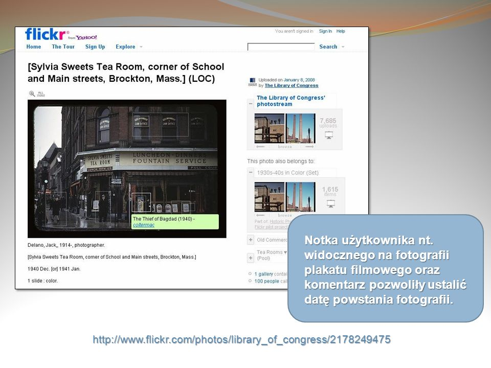 Notka użytkownika nt. widocznego na fotografii plakatu filmowego oraz komentarz pozwoliły ustalić datę powstania fotografii.