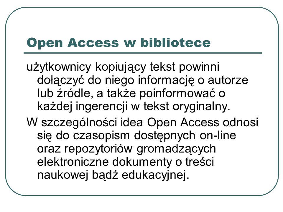 Open Access w bibliotece