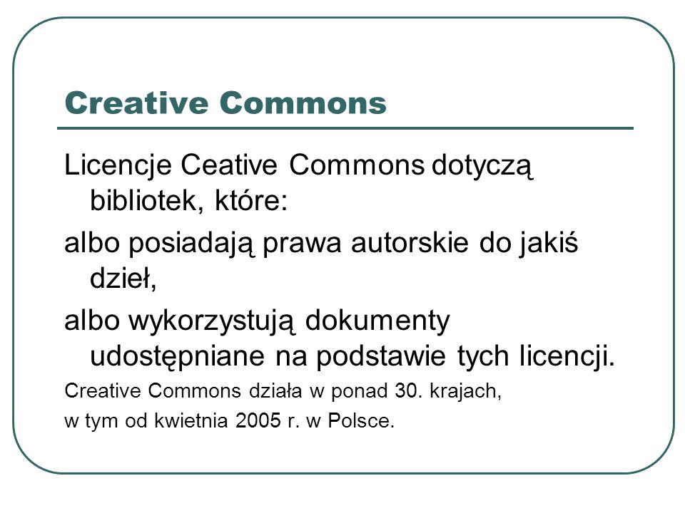 Creative Commons Licencje Ceative Commons dotyczą bibliotek, które: