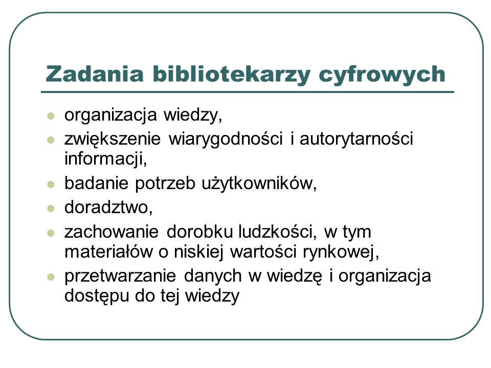 Zadania bibliotekarzy cyfrowych