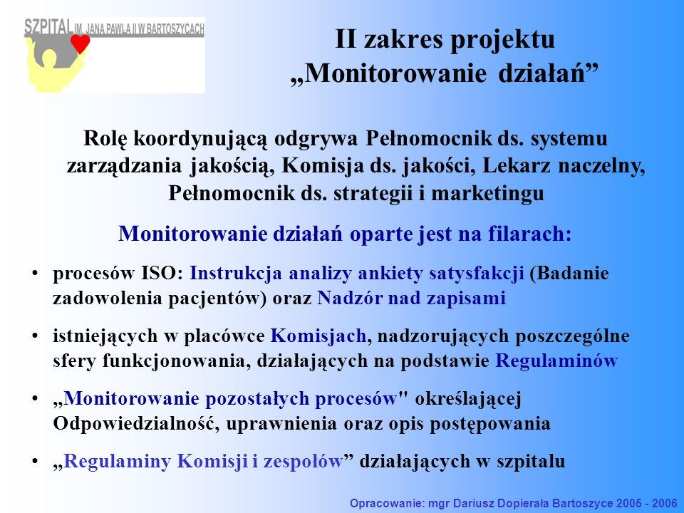 """II zakres projektu """"Monitorowanie działań"""