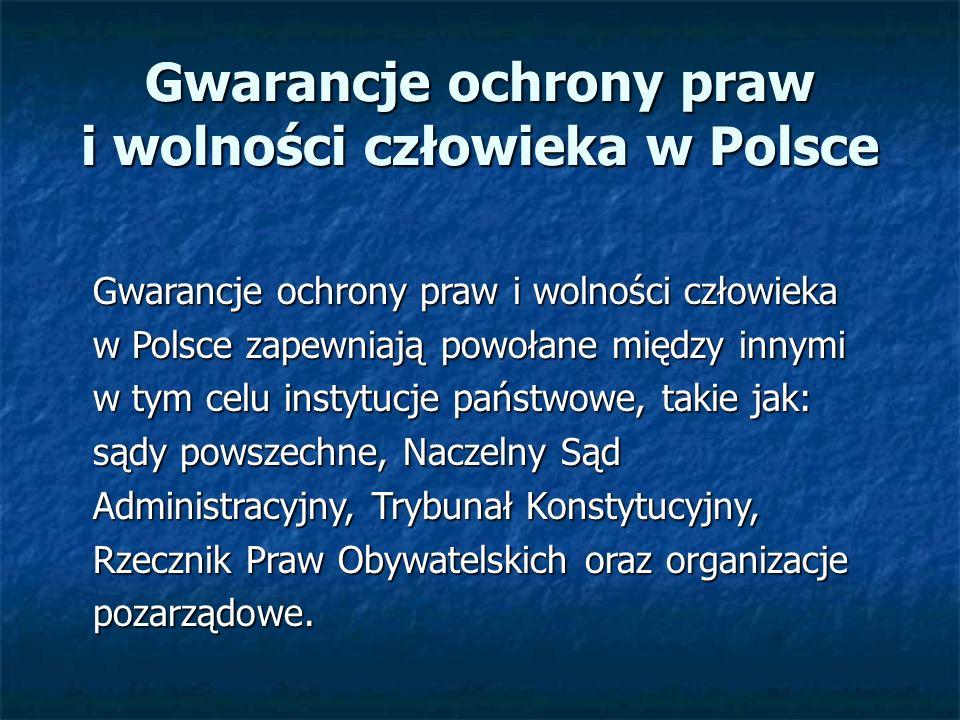 Gwarancje ochrony praw i wolności człowieka w Polsce
