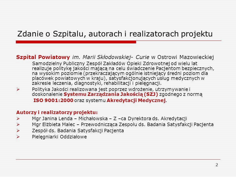 Zdanie o Szpitalu, autorach i realizatorach projektu
