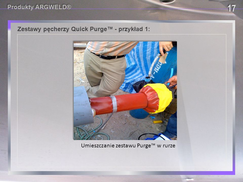 Zestawy pęcherzy Quick Purge™ - przykład 1: