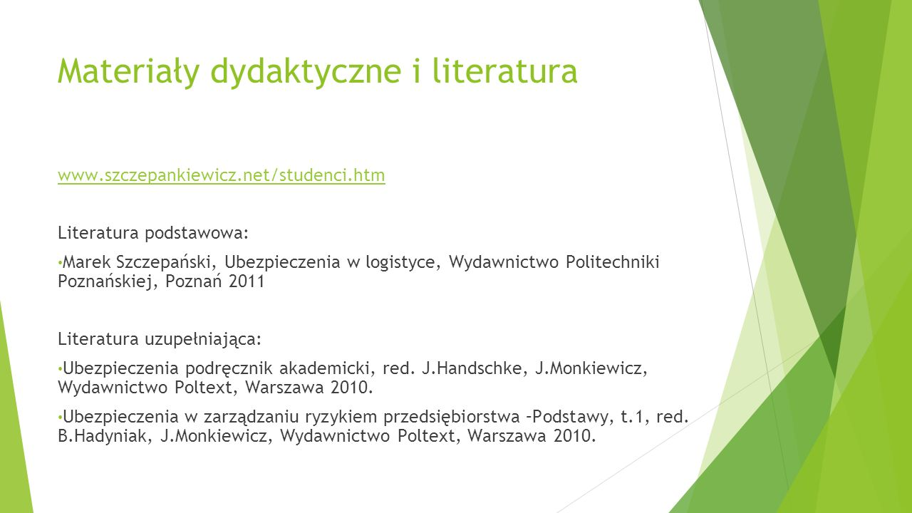 Materiały dydaktyczne i literatura