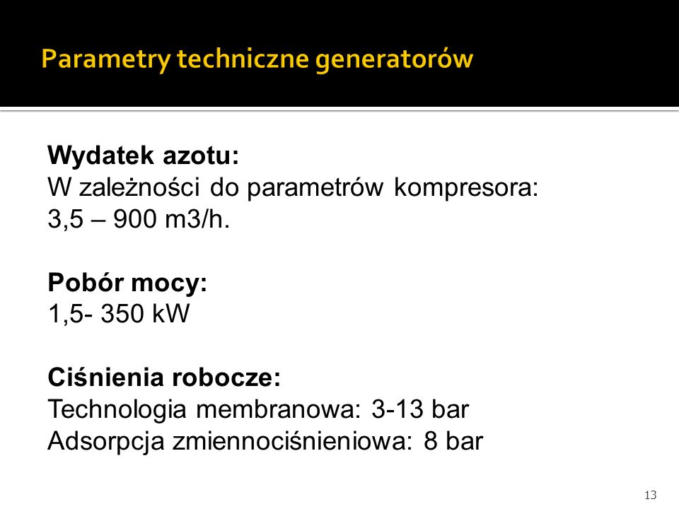 Parametry techniczne generatorów
