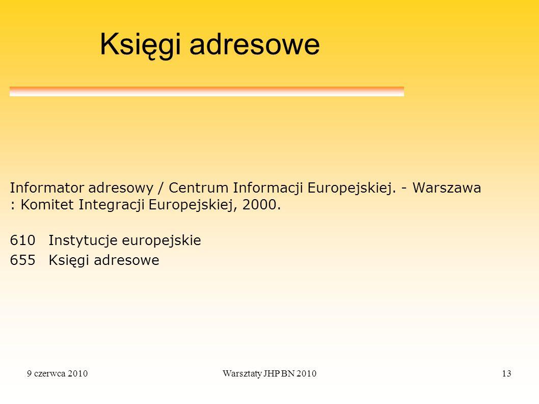 Księgi adresowe Informator adresowy / Centrum Informacji Europejskiej. - Warszawa : Komitet Integracji Europejskiej, 2000.