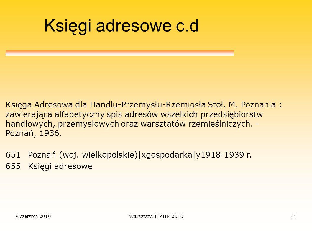 Księgi adresowe c.d