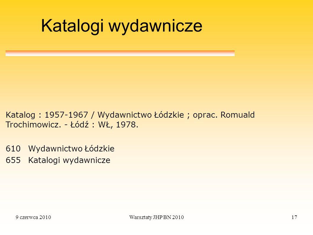 Katalogi wydawnicze Katalog : 1957-1967 / Wydawnictwo Łódzkie ; oprac. Romuald Trochimowicz. - Łódź : WŁ, 1978.