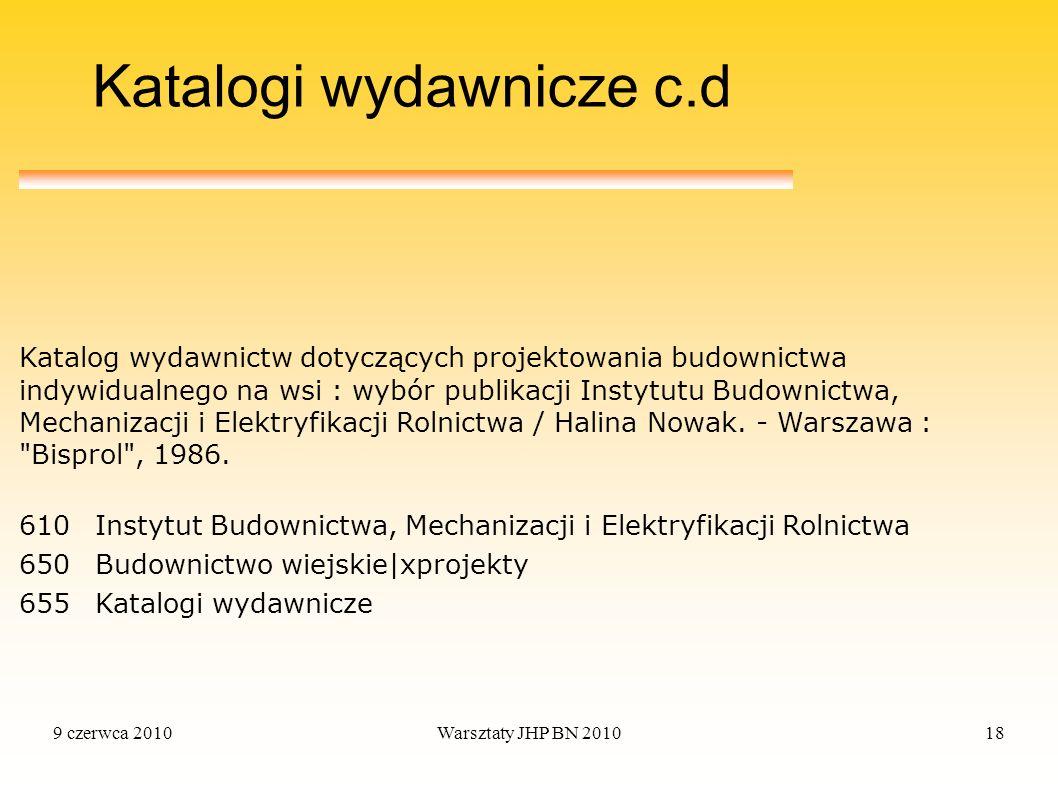 Katalogi wydawnicze c.d