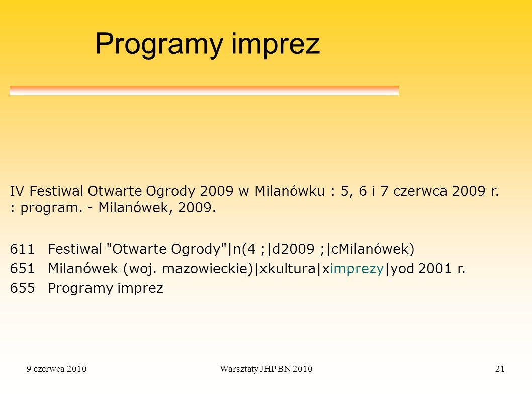 Programy imprez IV Festiwal Otwarte Ogrody 2009 w Milanówku : 5, 6 i 7 czerwca 2009 r. : program. - Milanówek, 2009.