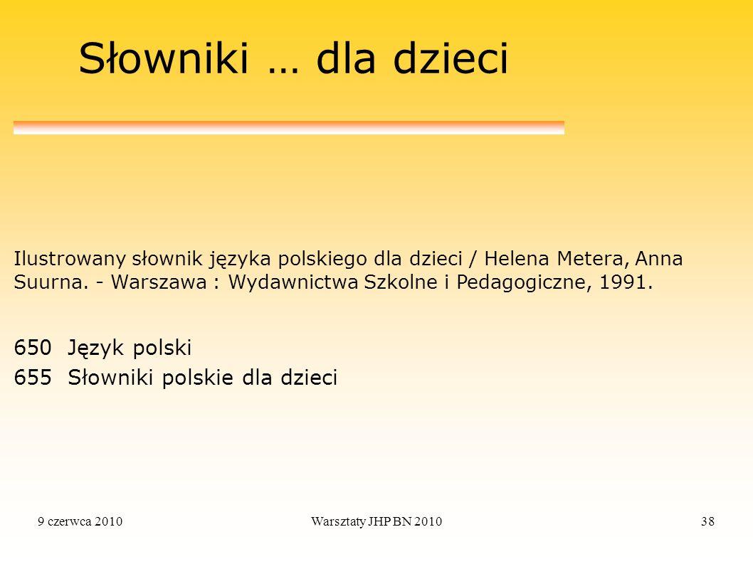 Słowniki … dla dzieci 650 Język polski 655 Słowniki polskie dla dzieci