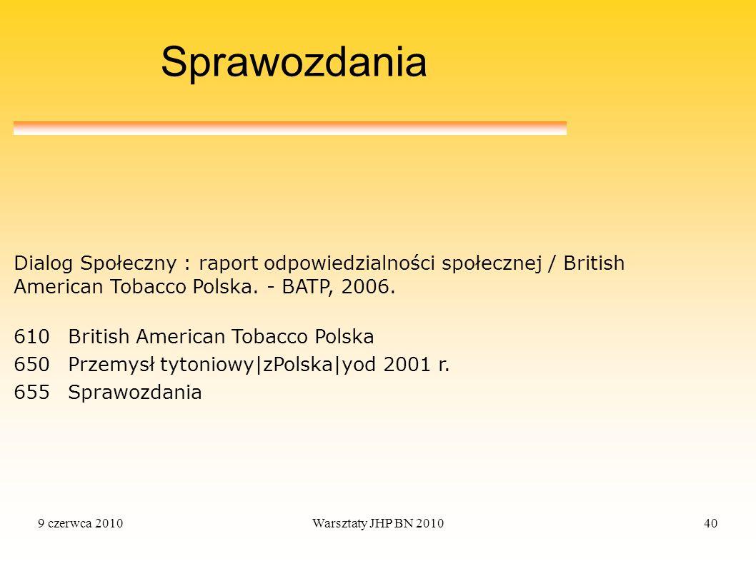 Sprawozdania Dialog Społeczny : raport odpowiedzialności społecznej / British American Tobacco Polska. - BATP, 2006.
