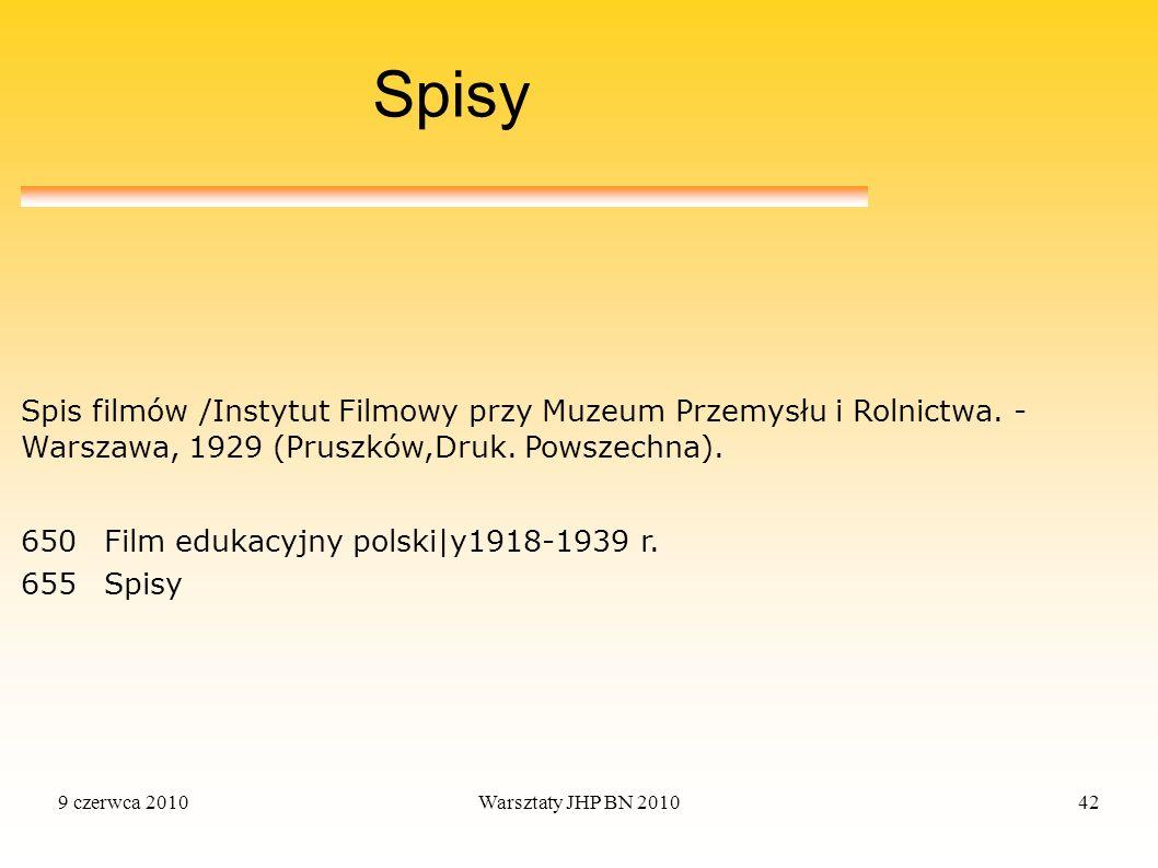 Spisy Spis filmów /Instytut Filmowy przy Muzeum Przemysłu i Rolnictwa. - Warszawa, 1929 (Pruszków,Druk. Powszechna).