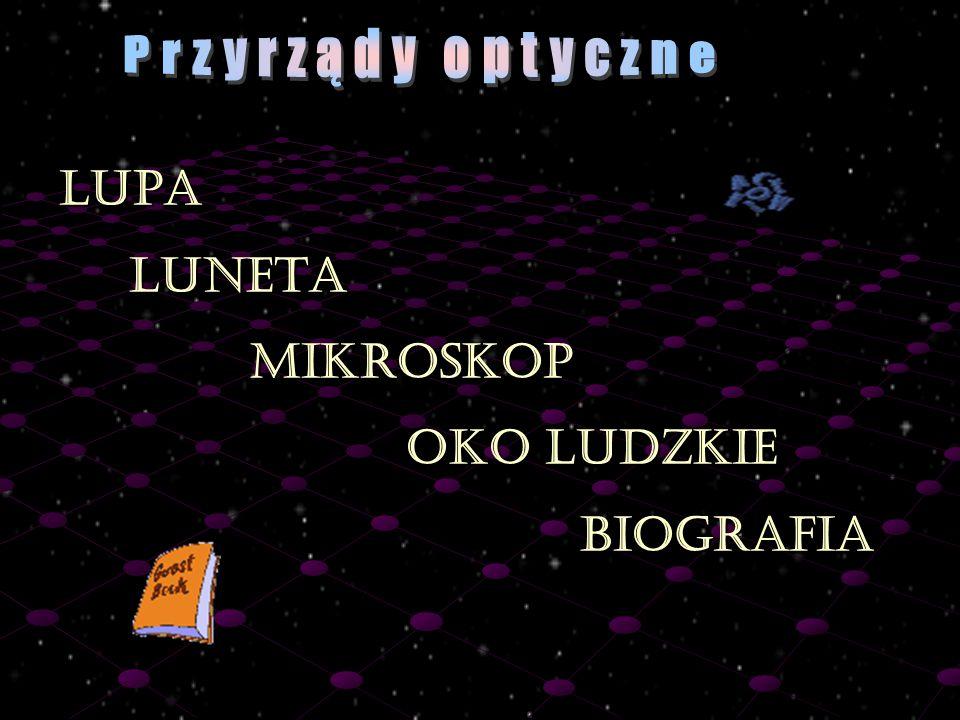 Przyrządy optyczne LUPA LUNETA MIKROSKOP OKO LUDZKIE BIOGRAFIA