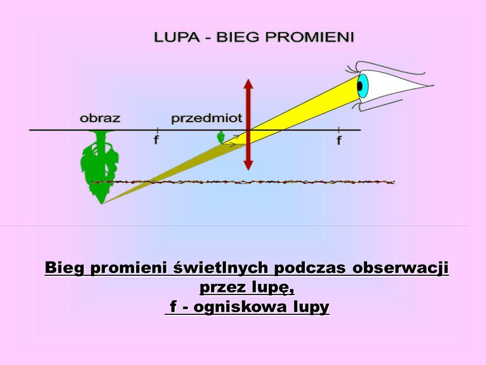 Bieg promieni świetlnych podczas obserwacji przez lupę,