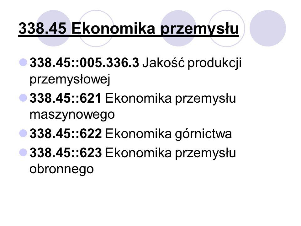 338.45 Ekonomika przemysłu 338.45::005.336.3 Jakość produkcji przemysłowej. 338.45::621 Ekonomika przemysłu maszynowego.