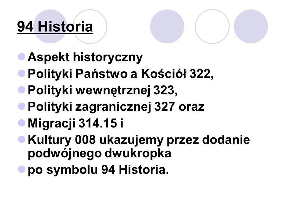 94 Historia Aspekt historyczny Polityki Państwo a Kościół 322,