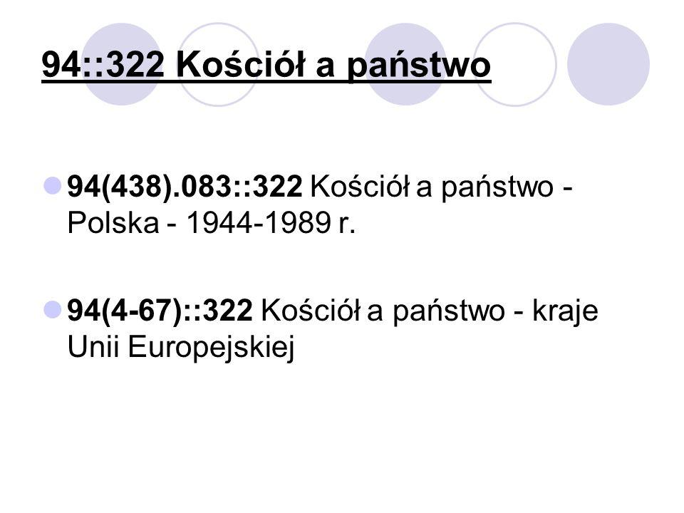 94::322 Kościół a państwo 94(438).083::322 Kościół a państwo - Polska - 1944-1989 r.