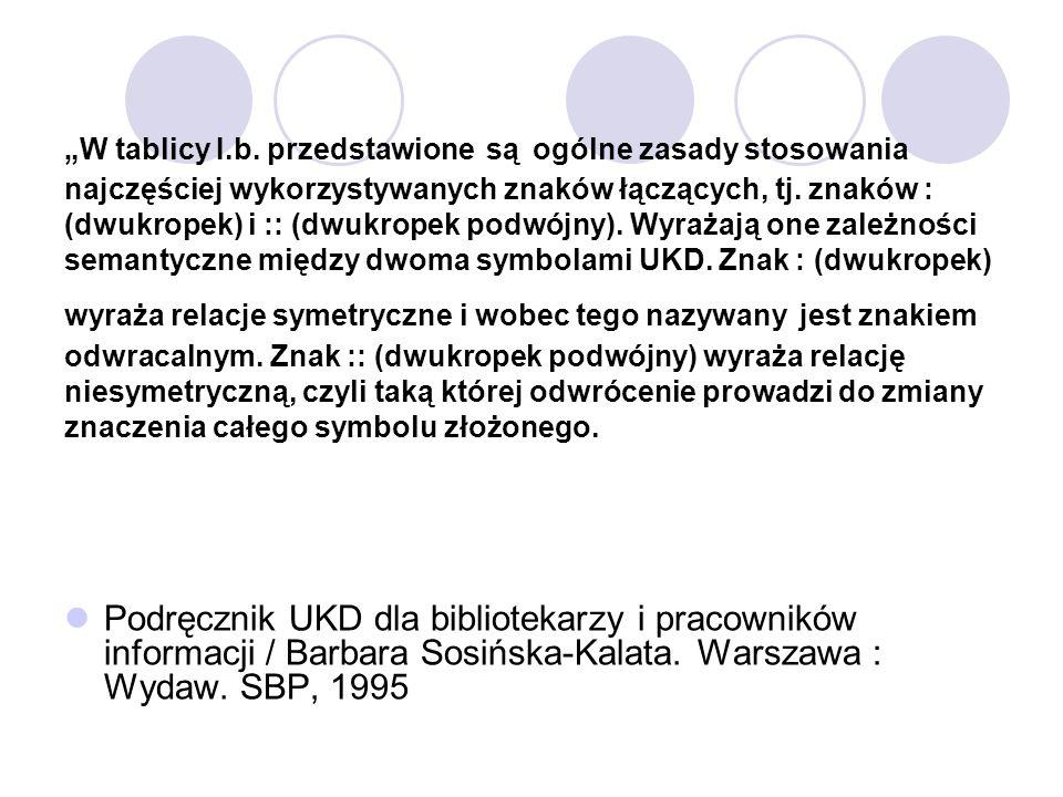 """""""W tablicy I.b. przedstawione są ogólne zasady stosowania najczęściej wykorzystywanych znaków łączących, tj. znaków : (dwukropek) i :: (dwukropek podwójny). Wyrażają one zależności semantyczne między dwoma symbolami UKD. Znak : (dwukropek) wyraża relacje symetryczne i wobec tego nazywany jest znakiem odwracalnym. Znak :: (dwukropek podwójny) wyraża relację niesymetryczną, czyli taką której odwrócenie prowadzi do zmiany znaczenia całego symbolu złożonego."""