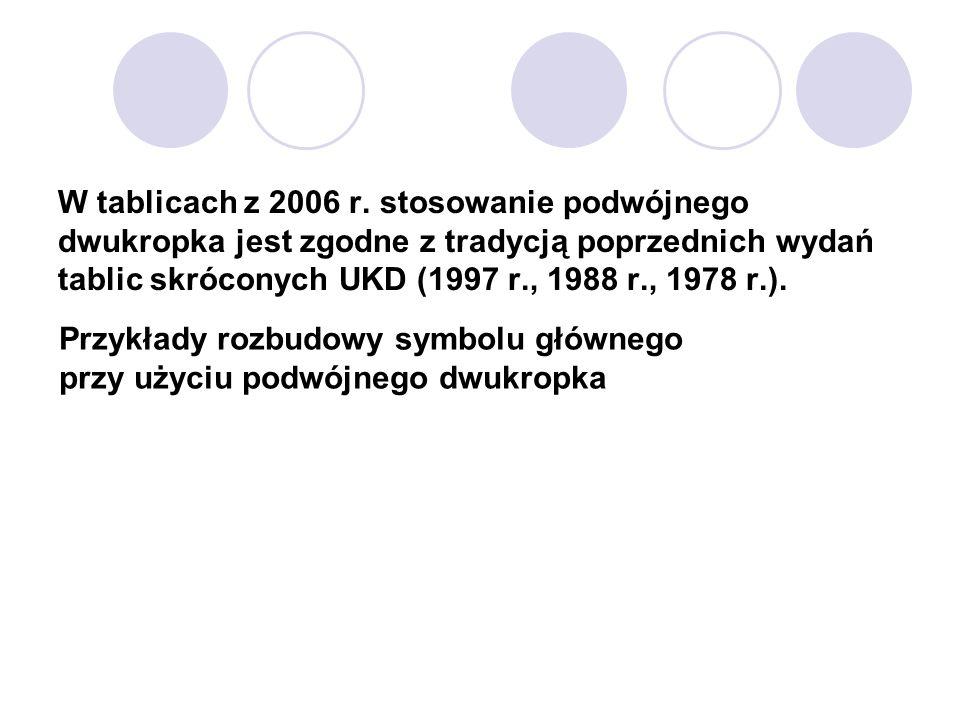 W tablicach z 2006 r. stosowanie podwójnego dwukropka jest zgodne z tradycją poprzednich wydań tablic skróconych UKD (1997 r., 1988 r., 1978 r.).