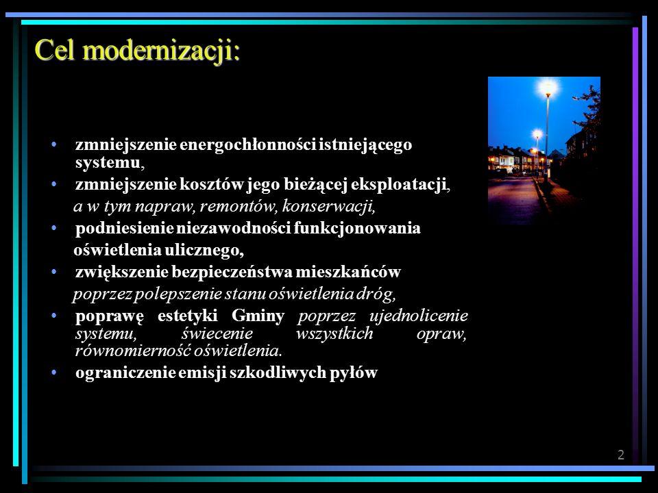 Cel modernizacji: zmniejszenie energochłonności istniejącego systemu,
