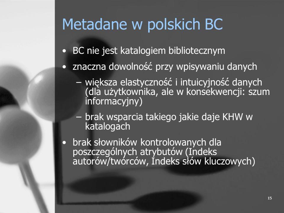 Metadane w polskich BC BC nie jest katalogiem bibliotecznym