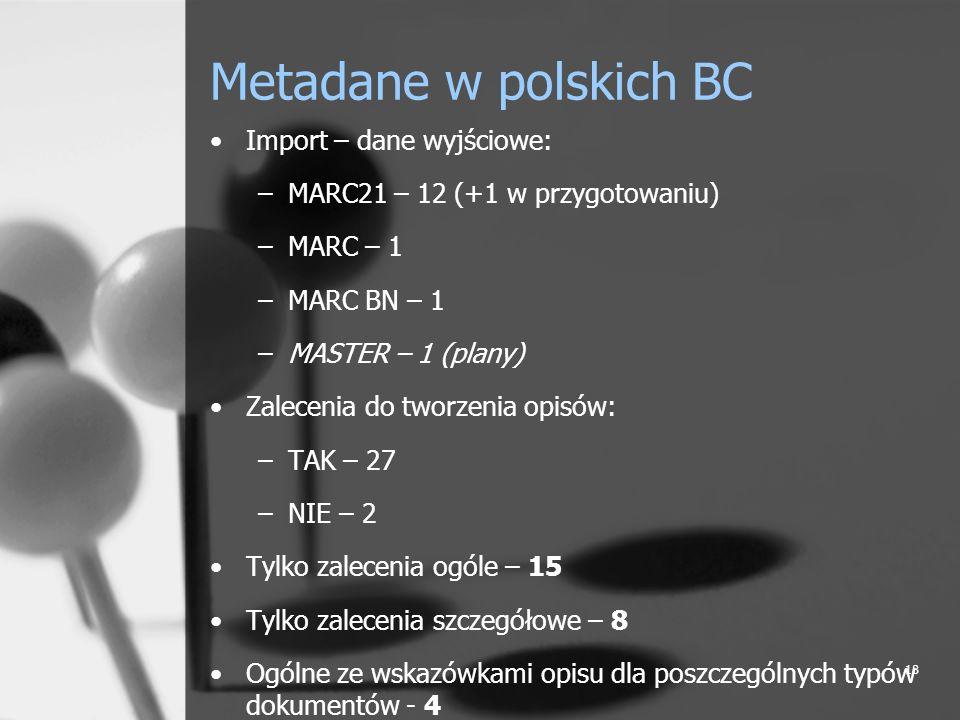 Metadane w polskich BC Import – dane wyjściowe: